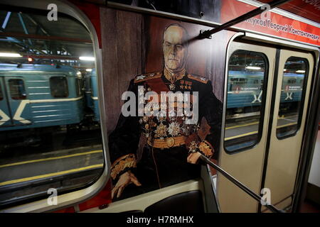 Moscow, Russia. 7th Nov, 2016. Georgy Zhukov (1896-1974), Soviet Marshal of Victory, painted in a car of the Moscow - Stock Photo