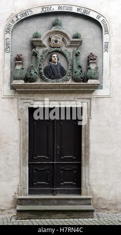 The entrance of the house in which Martin Luther (1483-1546) was born, photographed in the Luther city Eisleben, - Stock Photo
