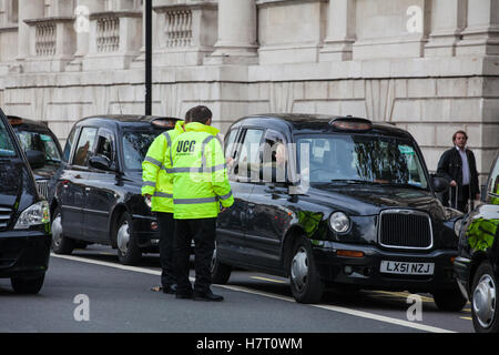 London, UK. 8th November, 2016. Black cab drivers representing the United Cabbies Group (UCG), London Cab Drivers - Stock Photo