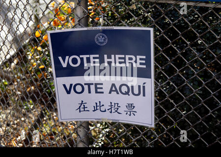 New York, United States. 08th Nov, 2016. Signs for voters in the Chelsea neighborhood of Manhattan in New York City - Stock Photo