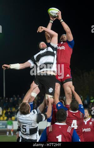 Prague, Czech Republic. 8th Nov, 2016. An exhibition rugby match Czech Republic vs Barbarian FC, played in Prague, - Stock Photo