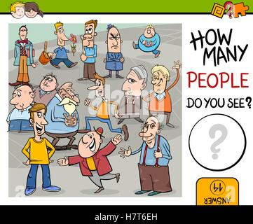 counting people preschool game - Stock Photo