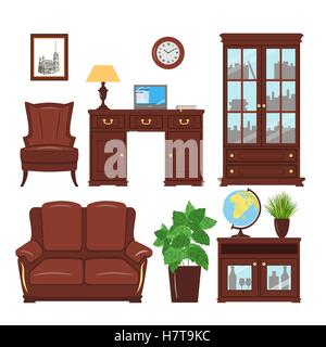 Set of classic home office furniture elements for cabinet, library, parlour. Home working place with bookcase, armchair, - Stock Photo