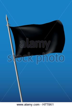 flag in black waving over the sky. customizable vector illustration - Stock Photo