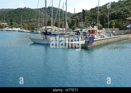 Vathi, GREECE, May 11, 2013: Landscape with mooring and yachts in port on the Meganisi island. Ionian sea, Greece. - Stock Photo