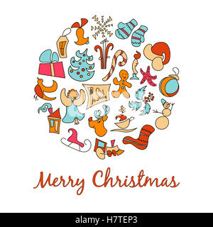 A set of cartoon images for the Christmas - Stock Photo