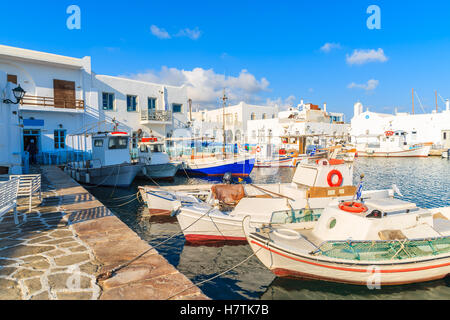 Traditional fishing boats in Naoussa port, Paros island, Greece - Stock Photo