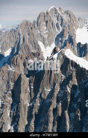 Aiguille du Plan as viewed from the Aiguille du Midi, Mont Blanc massif, Chamonix-Mont-Blanc, France - Stock Photo