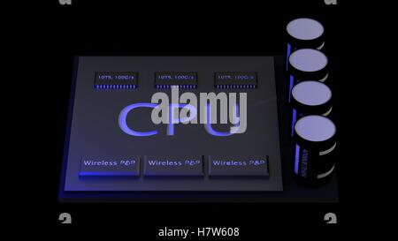 The 3d rendering central Computer Processors CPU concept. technology background. High resolution - Stock Photo