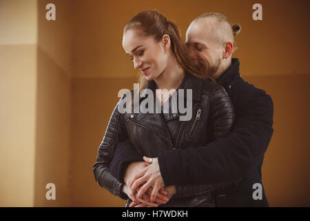 Lovely photo of a kissing couple - Stock Photo