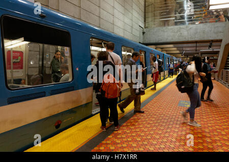 People boarding and getting off a Metro subway train in Montreal, Quebec, Canada - Stock Photo