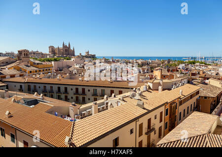 View of Palma de Mallorca. Wiew of Palma de Mallorca from the roof of one of the houses of the seaside town. In - Stock Photo