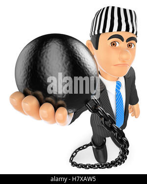 3d business people illustration. Businessman with prisoner ball. Corrupt politician. Isolated white background. - Stock Photo