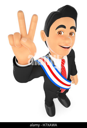 3d business people illustration. Political election winner. President. Isolated white background. - Stock Photo