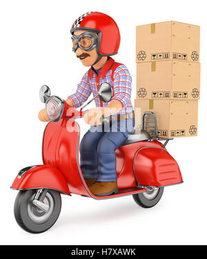 3d working people illustration. Courier delivery man delivering a package by scooter motorcycle. Isolated white - Stock Photo
