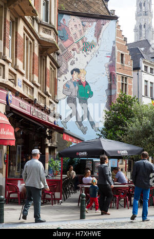Brussels, Belgium, Comic art at a building in the street Plattesteen, - Stock Photo