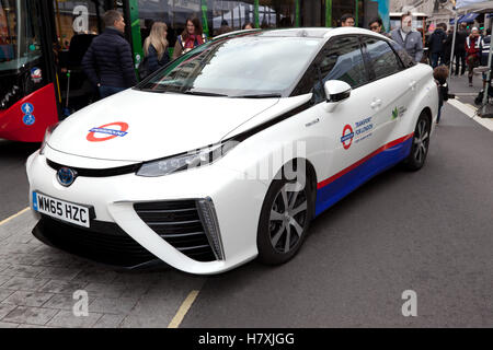 The 2016 Toyota Mirai, a hydrogen fuel cell vehicle display in the Low Emission Motoring Zone, of the 2016 Regents - Stock Photo
