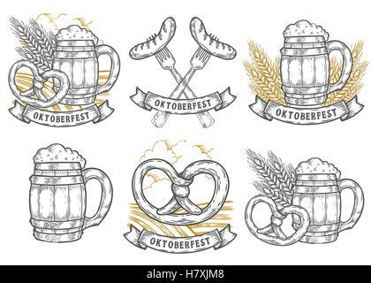 Wooden craft beer mug, wheat, sausage, pretzel. Oktoberfest labels set. Black vintage engraved hand drawn vector - Stock Photo