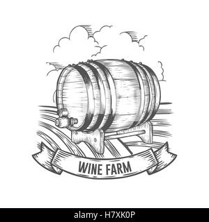 Wine farm badge. Monochrome vintage engraving barrel sign isolated on white background. Sketch vector hand drawn - Stock Photo