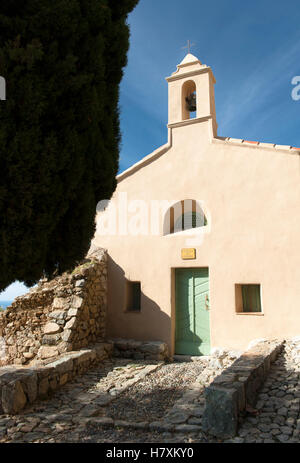 The Lavasina chapel at the square Piazza Savelli Spinola in Sant'Antonino (Haute-Corse), France - Stock Photo