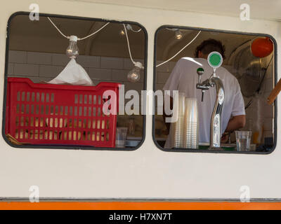 Preparing Sandwiches in Mobile Fast Food Place - Stock Photo