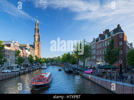 Prinsengracht canal and Westerkerk, Amsterdam, Netherlands - Stock Photo