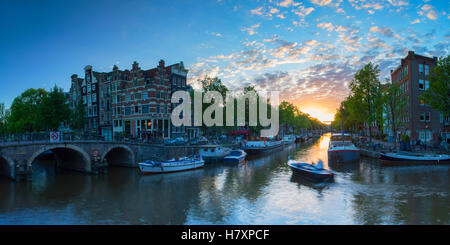 Prinsengracht and Brouwersgracht canals at sunset, Amsterdam, Netherlands - Stock Photo