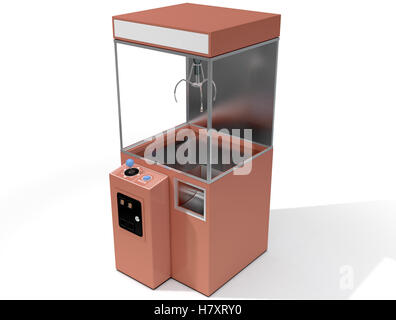 A 3D render of an empty arcade type claw grabber game on an isolated white background - Stock Photo