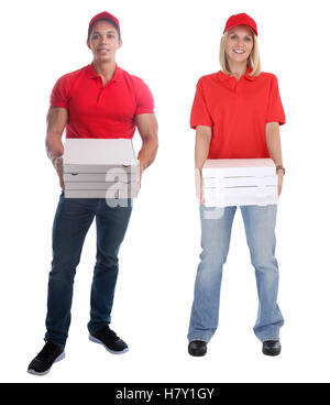 Pizza delivery man woman order delivering job young full body isolated on a white background - Stock Photo