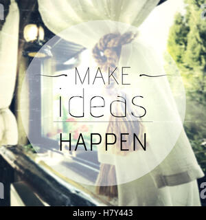 Inspirational quote on vintage background with make ideas happen message - Stock Photo