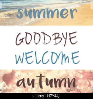 Hello Autumn · Goodbye Summer, Welcome Autumn Quote On Creative Filtered  Background With Both Sea And Foliage
