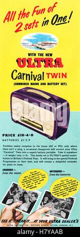 1951 British advertisement for the Ultra Carnival Twin portable radio - Stock Photo