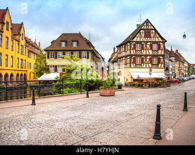 Colmar, Petit Venice, canal bridge and traditional half timbered colorful houses. Alsace, France. - Stock Photo