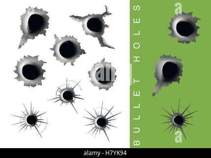 vector set of bullet holes in the metal - Stock Photo