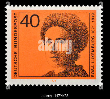 German postage stamp (1974)  : Rosa Luxemburg (1871-1919) Polish/German Marxist theorist, philosopher, economist - Stock Photo
