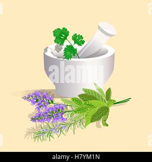 Mortar and Pestle with herbs. Vector illustration. - Stock Photo