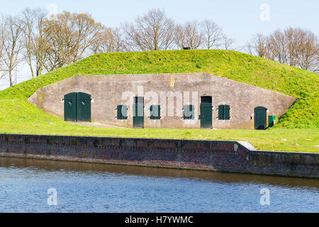 Barrack on ravelin Oranje-Promers in old fortified town of Naarden, North Holland, Netherlands - Stock Photo