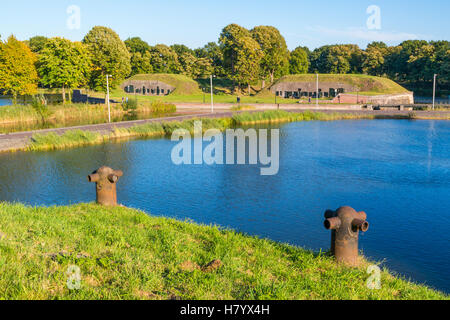 Ravelin Oranje-Promers from bastion Promers in old fortified town of Naarden, North Holland, Netherlands - Stock Photo
