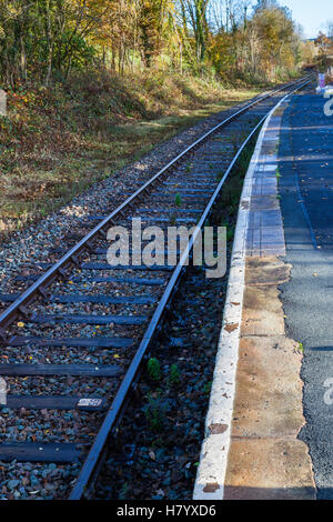 The Heart of Wales railway line at Cynghordy Station, Cynghordy, Carmarthenshire, Wales - Stock Photo