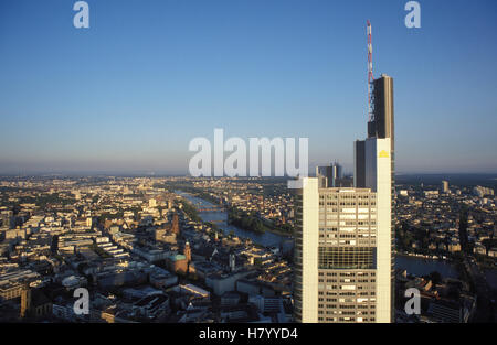 Commerzbank bank against the skyline of Frankfurt, panorama, office building, skyscraper, Hesse - Stock Photo