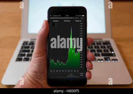 Using iPhone smartphone to display stock market performance chart for Shanghai Stock Exchange Composite Index, - Stock Photo