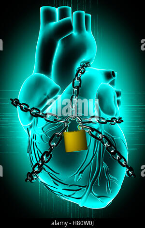 Heart Wrapped in Chains - Stock Photo