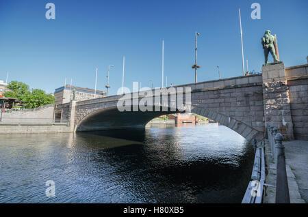 TAMPERE, FINLAND - June 18: Bridge over Tammerkoski river on June 18, 2013 in Tampere, Finland. - Stock Photo