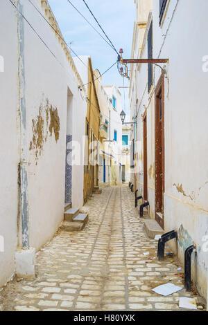 The old residential neighborhood of arabic Medina of Sousse, Tunisia. - Stock Photo