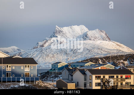Sunset in Greenland capital Nuuk, Sermitsiaq mountain in the background - Stock Photo