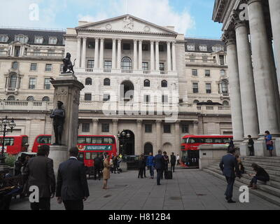 Bank of England viewed from the Royal Exchange - Stock Photo
