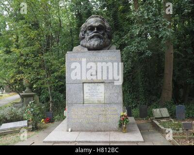 Highgate Cemetery London, Karl Marx - Stock Photo