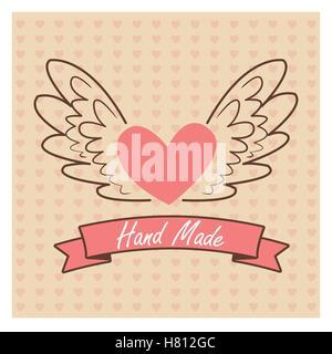 Hand Made label, handmade crafts workshop - Stock Photo