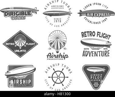 Vintage airship logo designs set. Retro Dirigible badges collection. Airplane Label vector design. Old sketching - Stock Photo