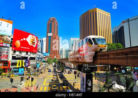 KL Monorail, Jalan Sultan Ismail, Kuala Lumpur, Malaysia. - Stock Photo